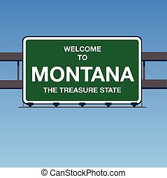 Vector - Welcome to Montana The Treasure State Interstate Highway overpass sign in a blue sky
