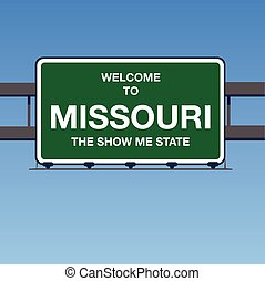 Vector - Welcome to Missouri the Show Me State Interstate Highway overpass sign in a blue sky