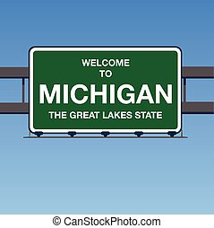 Vector - Welcome to Michigan the Great Lakes State Interstate Highway overpass sign in a blue sky