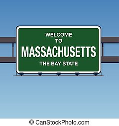 Vector - Welcome to Massachusetts the Bay State Interstate Highway overpass sign in a blue sky