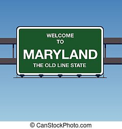 Vector - Welcome to Maryland the old line State Interstate Highway overpass sign in a blue sky