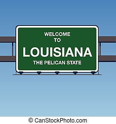 Vector - Welcome to Louisiana the Pelican State Interstate Highway overpass sign in a blue sky