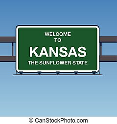 Vector - Welcome to KANSAS the sunflower State Interstate Highway overpass sign in a blue sky