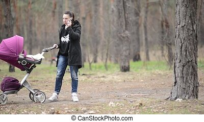 Mother walking with a baby stroller In the Forest - Mother...