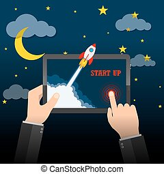 The spacecraft crashes outside tablet screen. Vector...