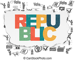 撕破, 政治, 紙, 共和國, 背景,  concept: