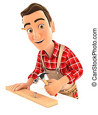 3d handyman nailing wooden plank with hammer