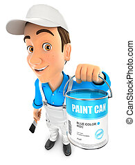 3d painter holding paint can, illustration with isolated...