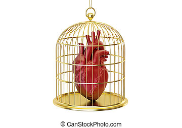 Birdcage with human heart, 3D rendering isolated on white...