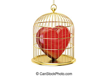 Birdcage with red heart, 3D rendering isolated on white...