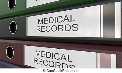 Office binders with Medical records tags 3D rendering - Line...