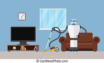 Robot cleaner in home interior. Household robot with vacuum...