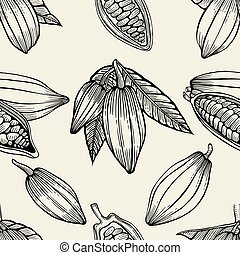 cocoa beans and leaves. - Seamless pattern of cocoa beans...