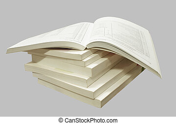 Catalogs. - A stack of catalogs, isolated on a gray...
