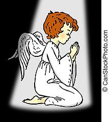 Angel Pray under spot light