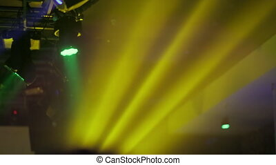 club light, colored rays at the disco
