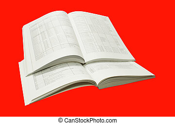 Catalogs - A stack of catalogs, isolated on a red background...