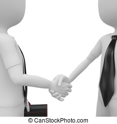 3d man shaking hands - 3d man business shaking hands...