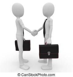 3d man shaking hands - 3d man business shaking hands...