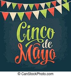 Cinco de Mayo lettering and garland. Vector color vintage...