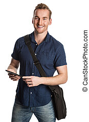 Blonde man studying - Happy smiling blonde student wearing a...