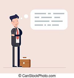 Businessman or manager thinks. Abstract text in speech bubble. Concept of the thought process. Flat characte in cartoon style.