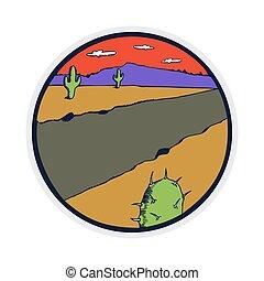 Flat design of western desert illustration
