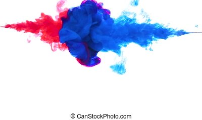 Color drop underwater creating a silk drapery. Ink swirling...