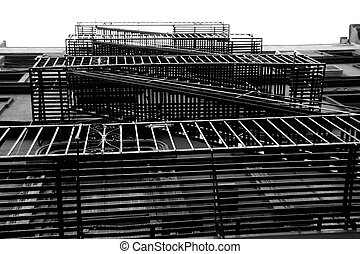steel stairs - Steel stairs on the side of the building