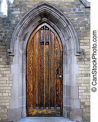 Gothic door - Gothic door on the side of Toronto Necropolis...