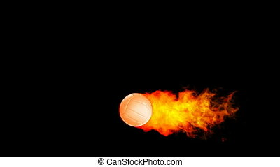 Volleyball fireball in flames