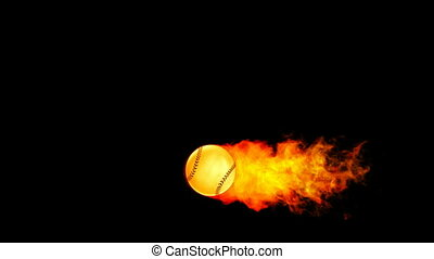 Baseball fireball in flames