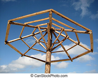 Beach palapa frame without palm leafs