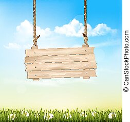 Spring Nature Background With A Green Grass And Wooden Sign. Vector.