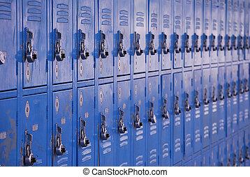 School metal lockers for storage of personal belongings.