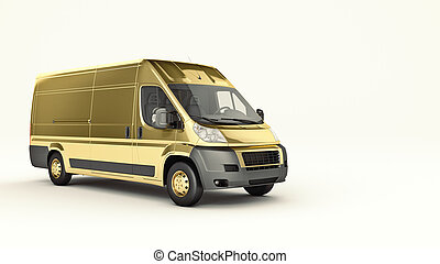 Gold Truck-Fast shipping. 3D rendering