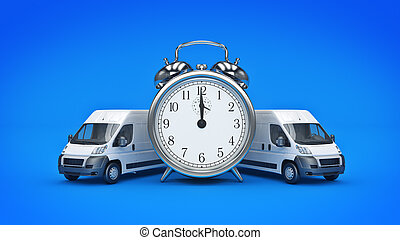 Clock and White Truck-Fast shipping. 3D rendering