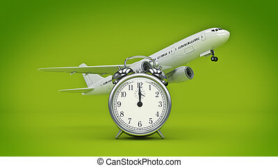 time for travel, airplane clocks. 3d renderind