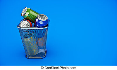 Recycling concept: drink cans in the trash bin. 3d rendering