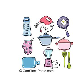 Collection of object kitchen set vector illustration