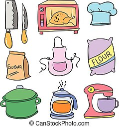 Collection stock kitchen set colorful doodles vector art