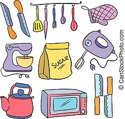 Vector art kitchen set doodles style collection stock