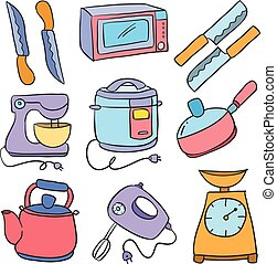 Vector art of kitchen set doodle style collection