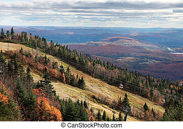 Fall Season on top of Mont-Tremblant, Quebec, Canada - The...