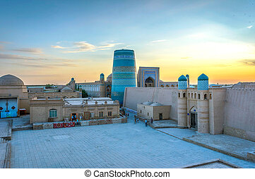 Khiva old town, Uzbekistan - Khiva old town with city wall...
