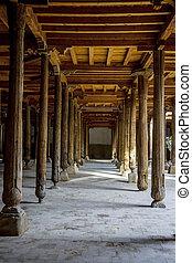 Carved wooden pillars in madrassa, Khiva