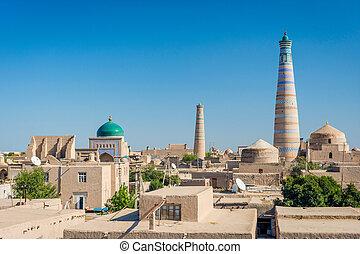 Khiva old town, Uzbekistan - View over skyline of Khiva old...