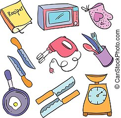 Collection stock kitchen accessories doodles vector art