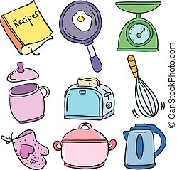 Collection kitchen set colorful doodles vector illustration