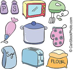 Collection of kitchen set doodle colorful